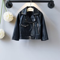 Wholesale Baby Jackets Leather Girls - Everweekend Girls Rivet Zipper PU Leather Jackets Cute Baby Black Color Coat Lovely Kids Western Fashion Autumn Winter Outerwear