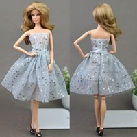 Wholesale Unique Toy Dolls For Girls - Doll Dresses Unique Gray Sequin Evening Dress for Barbie Dolls Clothes For 1 6 BJD Doll Gift Doll Accessories