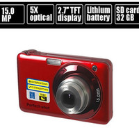 "Wholesale Camera Face Detection - Wholesale-15.0MP mega pixls Optical zoom digital camera with 2.7"" LCD Screen 5X optical zoom Face Detection Video function"