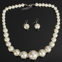 Wholesale Silver Rhinestone Necklace Set Pearl - Imitation pearls Bridal Jewelry Sets Fashion Crystal Wedding Gift Classic Statement Collar Choker Necklace Earring Sets for Women Wholesale