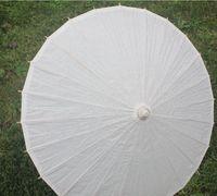 ingrosso ventilatore a mano in seta gialla-(100 pc / lotto) Nuovo bambù ecologico con gli ombrelli nuziali nuziali della maniglia lunga di colore bianco di carta trasporto libero