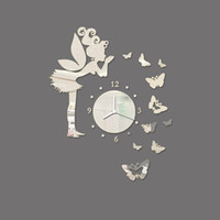 Wholesale fairy mirror wall stickers for sale - Group buy Modern Butterfly Fairy Clock DIY D Art Mirror Wall Sticker Kids Room Home Decor