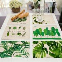 ingrosso lascia le piante-All'ingrosso-New Green Tropical Plants Leaves Isolamento tovagliette Place Pad tavolo da pranzo Mats per la decorazione domestica JD323