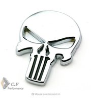 Metal spark cars - Metal Body Emblem Car Motorcycle D silver Auto THE Punisher skull Skeleton Rear Badge for Spark Patriot Fabia Yeti