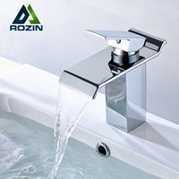 Wholesale Bathroom Ceramic - Wholesale- Free Shipping Single Lever Waterfall Basin Sink Mixer Taps Deck Mounted Hot and Cold Bathroom Sink Faucet