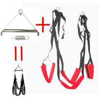 Wholesale Sex Toys Swings - 1 Set Red Adult Sex Swing Tripod Erotic Toys Luxury Love Swing Chairs Fetish Columpio Sex Toys Swing Sex Furniture