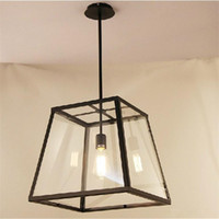 Wholesale Vintage Glass Hanging Lamps - RH Lighting LOFT Pendant Light Restoration Hardware Vintage Pendant Lamp Filament Pendant Edison Bulb Glass Box RH Loft lights Hanging Light
