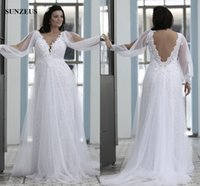Wholesale Straight Neck Backless Wedding Dress - Straight V-neck Plus Size Wedding Dresses For Big Women Sexy Backless Bridal Gowns Long Sleeve Vintage Lace Wedding Gown For Brides