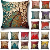 Wholesale Dobby Bedding - 20 Colors 45*45cm 3D Flower Tree Printed Cotton Linen Throw Pillow Cushion Cover Seat Car Home Sofa Bed Decorative Pillowcase funda cojin
