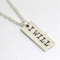 Wholesale workout gifts for sale - Group buy 12pcs I WILL Charm Necklace Fitness Weightlifting crossfit DUMBBELL workout jewelry
