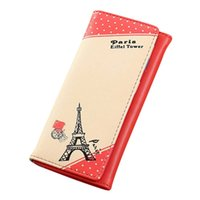 Wholesale Tower Cards Credit - Wholesale- Women's purse Paris Eiffel Tower Pattern Hasp Long Purse Wallet Women Credit Card Holders Handbag carteira 2017