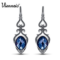Wholesale Viennois Vintage Blue Crystal Drop Earrings for Women Antique Silver Rhinestone Brincos Dangle Earrings Brand Fashion Jewelry