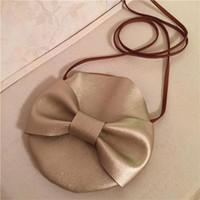 Wholesale One Shoulder Bowknot - New bowknot Cartoon bag Inclined bag PU Single shoulder bag Backpacks Children gift free shipping C773