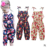 Wholesale Onepiece Jumpsuits - Girls Jumpsuits Floral Printed Suspender Trousers Rompers Baby Floral Sleeveless Jumpsuits Flower Onepiece Infant Cotton Pants Rompers J479