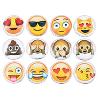 Wholesale Smile Face Button - Wholesale- MJARTORIA 12PCs Cute Smile Cry Cool Emoji Face Glass Snap Buttons For Snap Jewelry DIY Fit Charms Bracelet Necklace 18mm