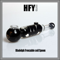Wholesale Tobacco Pipes Gift Box - Illadelph Glass Freezable coil Spoon Hand Pipe Black with Gold Label bubbler water pipe glass smoking pipes tobacco pipe bong bongs