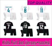 Wholesale Boys Red Set - RONALDO Kids Full Set (set+socks) home and away soccer jerseys 17 18 BALE JAMES BENZEMA MARCELO MODRIC SERGIO RAMOS KROOS