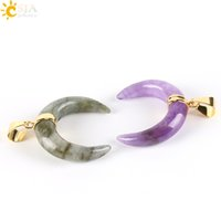 CSJA 100pcs 2017 Natural Gem Stone Crescent Half Moon Pingentes para Colar Gold Plated Amethyst Spectrolite Charms Homens Mulheres Jóias E303