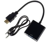 xbox hdmi vga cable venda por atacado-HDMI SWITCHERS cabo de áudio HDMI para cabo de dados VGA com cabo de áudio Video Converter Adapter Xbox 360 um PS3 PC360 TV Boxes Laptop
