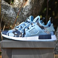 Wholesale Camo Golf Shoes - [With Box] Adidas Original Men & Womens 2017 Top Quality NMD XR1 Glitch Black White Blue Camo Pack Ultra Boost Discount Running Sports Shoes