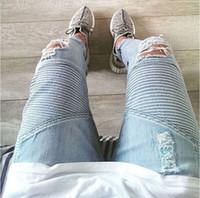 ingrosso abbigliamento biker all'ingrosso-All'ingrosso-rappresenti i pantaloni del progettista di abbigliamento slp blu / nero ha distrutto il denim sottile dei jeans diritti degli uomini magri del motociclista diritto jeans strappati 28-38