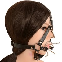 Wholesale Sm Slave Metal - For Couples Spider Shape Metal Ring Gag Bondage Restraint With Nose Hook Slave Fetish Mouth Gag SM Tools Black Full Head Harness