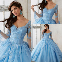 Wholesale Sexy Ivory Corsets - Sheer Sky Blue Long Sleeve Ball Gown Plus Size Quinceanera Dresses V Neck Lace Appliques Corset Long Prom Sweet 16 Gowns