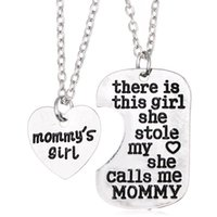 Wholesale Mommy Daddy - Free Shipping Heart Silver Jewelry Girl Stole Heart Mommy Daddy Family Love Pendant Necklaces Mother's Day and Father's Day Gift