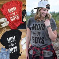 jungen sexy hemden großhandel-2017 heiße neue mode frauen bluse mama of boys drucken brief kurzhülse solide t-shirts kleider sexy neck t-shirts