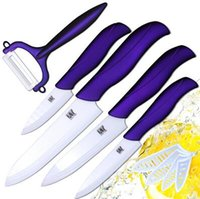Wholesale Chinese Ceramic Tools - Ceramics Knife Pottery And Porcelain Black And White Blade With Purple Handle Five Piece Set Cutter Hand Tools Slicer CCA6514 20set