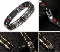 Wholesale Gold Bracelets For Health - Vnox Black Men's Health Bracelets & Bangles Magnetic H Power Stainless Steel Charm Bracelet Jewelry For Man
