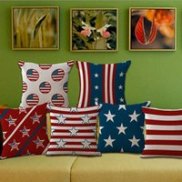 Wholesale American Flag Throw - National Flag American flags Stars and Stripe Throw Pillow Cases Cushion Cover Pillowcase Linen Cotton Square Pillow Case Pillowslip