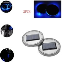 Wholesale 2 Universal Solar Cup Holder Bottom Pad LED Light Cover Trim Atmosphere Lamp For All Car