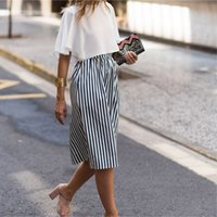 Wholesale Russian Skirts - New Fashion Office Lady Striped Midi Skirt Elastic Waist Zipper Straight Pencil Skirt Russian Women Summer Bottoms