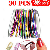 Wholesale Striping Tape Line Nail - 30 Rolls Lot Fashion Multi Mix Colors Rolls Striping Tapes Line Metallic Yarn Nail Art Patterns Decoration Wraps Sticker Highlight Manicure