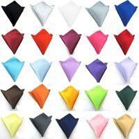 Wholesale Handkerchief Party Dresses - Square Handkerchiefs Solid Color Male Gentleman Hankie Party Supplies Man Handkerchief Hand Towel for Banquet Wedding Suit Dress Pocket