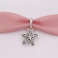 Wholesale rhodium plated cz for sale - 925 Sterling Silver Beads Tropical Starfish Clear Cz Charms Fits European Pandora Style Jewelry Necklace CZ