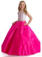 ingrosso raso del vestito di compleanno della neonata-Natale Cute Baby Girls vestire abiti da ballo Halter Una linea perle Perline Abiti da celebrità in raso Compleanno per la ragazza Vestito da ballo