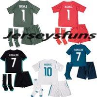 Wholesale Microfiber Football - 2017 2018 Real Madrid Home Kids soccer Jerseys kits +Socks 17 18 RONALDO SERGIO RAMOS ASENSIO BALE RAMOS ISCO MODRIC ISCO football shirts