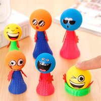 Wholesale Large Plastic Dolls Wholesale - Wholesale- 2pcs lot small+large Bounce Ball Toys Baby Gifts Children Educational Game Push&Down Doll