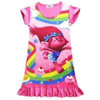 Wholesale Cotton Nighties Wholesale - New Fashion Girls Short Sleeve Dress Trolls Poppy Printed Cartoon Pajamas Dress Princess Girls Nighties 4 colours