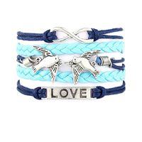 Wholesale Leather Bracelets Heart Wings - 2017 HOT Leather Wrap Bracelet DIY Alloy Infinity Bracelets Charm Anchor Bangles Crosses Heart Birds Tree Of Life Wings Metal Jewelry
