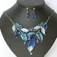 Wholesale Fashion Brand costume Jewelry Set Gunmetal Plated Elegant Colors crystal Leafs choker necklaces and earrings High Quality Party Gifts New