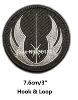 Wholesale Military Badge Embroidery - JEDI ORDER STAR WARS Logo Embroidery Patches For Clothing Military Morale Hook & Loop Sew On Badge TV Movie Series