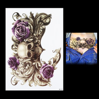 Wholesale flower rose tattoos - Wholesale-1 PC Purple Waterproof Rose Flower Skull Picture Tattoo Design HB271 Temporary for Women Men Body Chest Waist Art Tattoo Sticker