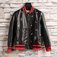 Wholesale Mens Leather Top Coat - Top Quality Motorcycle Jacket Men Leather Jacket Cowhide Genuine Leather Jackets Mens Biker Coat Moto Jacket Size M-3XL G1103