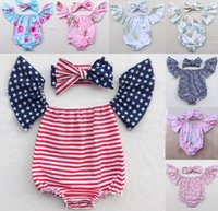 Wholesale Stripe Pink Romper - 38 Style Baby clothing Stripe Stars Girls Romper Floral Lemon Printed Infant Onesie Off Shoulder Jumpsuit + Bow Headband 2pcs Sets C1382