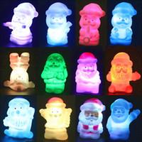 Wholesale Santa Led Decoration - Christmas decoration lamp LED Colorful snowman Mushrooms santa claus, colorful changing night light gift 20pcs lot