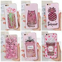 Wholesale Iphone Flower Bling Case - Quicksand Liquid Bling Cute Cat Flower Flamingo Glitter Heart Star Hard Phone Case For iPhone X 6 6s 7 8 Plus