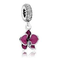 Wholesale Orchid Pendant - Authentic 925 Sterling Silver Bead Charm Red Enamel Orchid Flower Pendant Beads Fit Women Pandora Bracelet Bangle DIY Jewelry HKA3329
